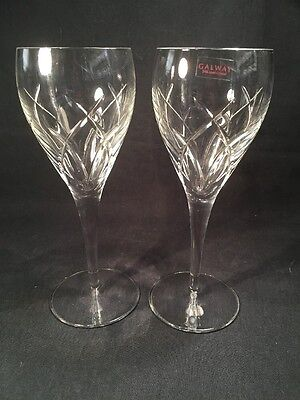 Pair Of Galway Crystal Wine Glasses (ref B003)