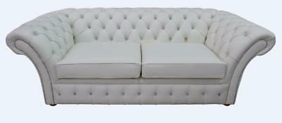 Chesterfield Balmoral Crystal Diamante 3 Seater White Leather Sofa Settee 2 Cush