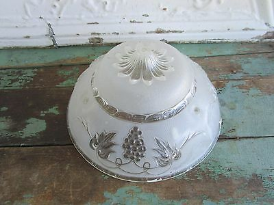 Antique Vintage Glass Art Deco Floral Grape frosted 3 chain ceiling lamp shade 1
