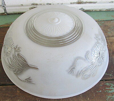 Antique Vintage  Glass Art Deco  frosted floral lamp ceiling shade 3 chains #1
