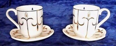 Party Lite---2 Teacups & 2 Saucers Tealight candle holders