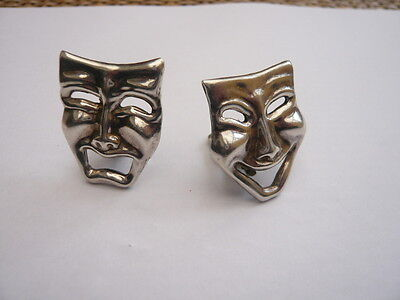 Vintage Sterling Silver Theatre Theatrical Mask Earrings Phantom Of The Opera ?