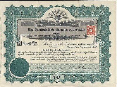 Hartford Fair Grounds 1915 Stock Certificate Michigan