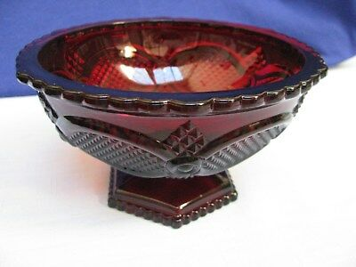 Avon 1876 Cape Cod Ruby Red Glass Candy Nut Dish Sauce Relish Pedestal Bowl Xmas