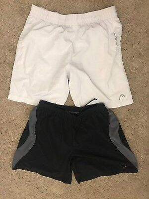 Lot Of 2 Men's Athletic Shorts Tennis Basketball Nike Etc Black Gray Sz L/XL