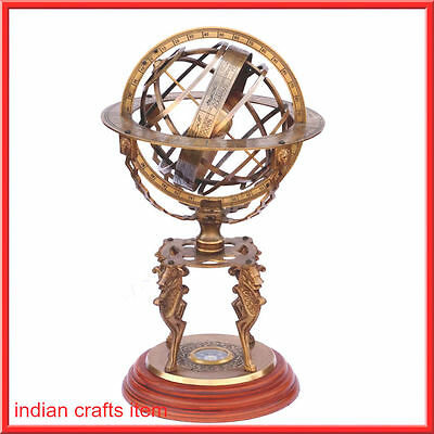 "18"" Large Engraved Brass Armillary Nautical Sphere Globes, World sundail compass"