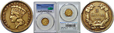 1860-S $3 Gold Coin PCGS XF-40 CAC