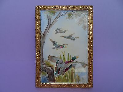 "Extremely rare Shelley ""Ducks in flight""  hand enamelled plaque. C.1940."