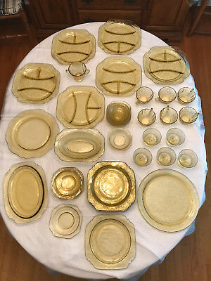 39-pc, 6-place Yellow Amber Depression Glass in Federal Madrid & Patrician Spoke