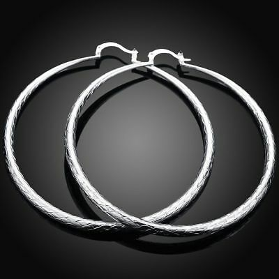 Fashion 925Sterling Solid Silver Jewelry Big Circle Hoop Earrings For Women E289