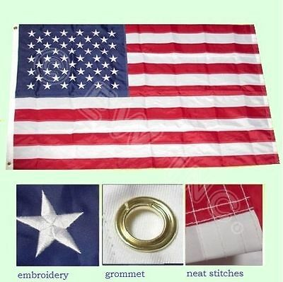3'x5' FT American Flag US Embroidered Stars Sewn Stripes Brass Grommets - 2 Pack