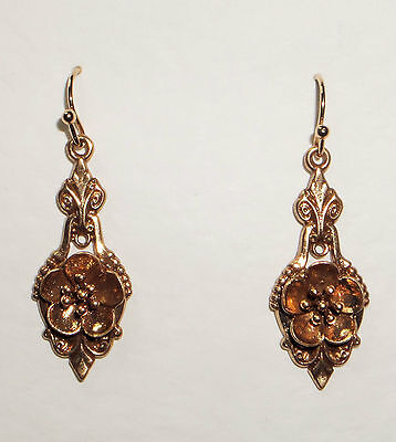 Lovely Quality Victorian Style Rose Gold Plated Earrings With Flower Detail Hook
