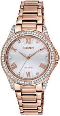 Women's Rose Gold Citizen Eco-Drive POV Swarovski Crystal Watch EM0233-51A