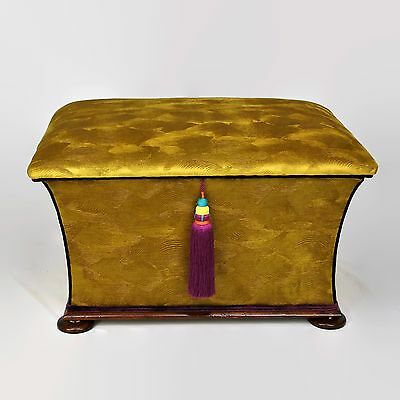 Antique Large Concave Ottoman Box/ Stool /Seat fully restored and reupholstered