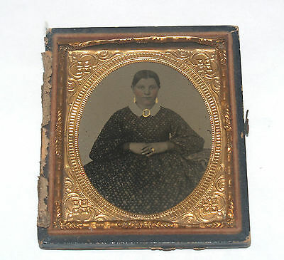 Antique Ambrotype Photograph Hand Colored Young Woman Well Dressed Lady Gold