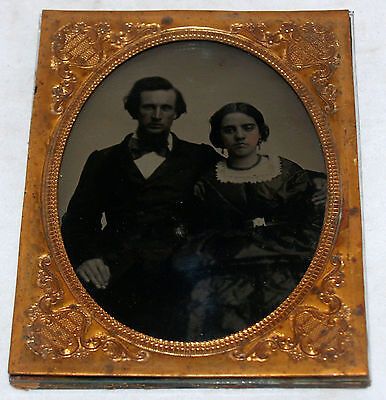 Antique Half Plate Ambrotype Photograph Man And Woman Seated Hand Colored