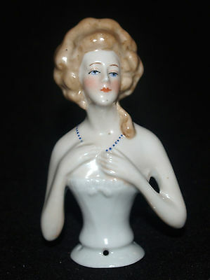 Antique Victorian German Porcelain Pin Cushion Half Doll Blonde With Necklace