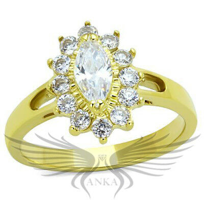 Brilliant 2.4ct Marquise Cut Cubic Zircon CZ AAA Accented Wedding Ring TK1584