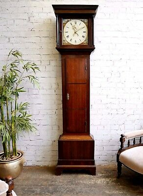 Antique Georgian Victorian Painted Dial 30 Hour Oak Longcase Grandfather Clock