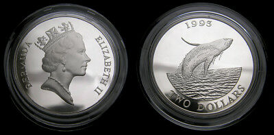 Bermuda Humpback Whale Silver Two-Dollar 1993 Commemorative Coin Mint Condition