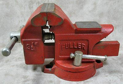"""Vintage Fuller 3-1/2"""" Red Swivel Table Bench Vise Pipe Jaws Made In Japan"""