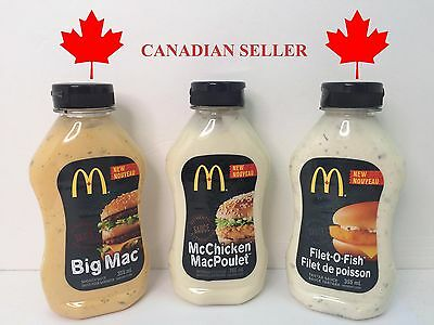 Mcdonalds Sauce Lot ALL 3 McChicken Filet O Fish Big Mac Ships From Canada Exped