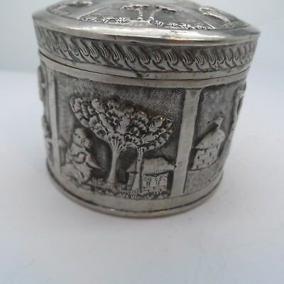 Unusual Antique Silver Plated Dutch ? Picture  Box c 1880's No Reserve