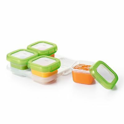 Oxo Tot Baby Blocks Freezer Storage Containers Green 4-Ounces Set 4, 4 Ou... New