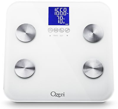 Ozeri Touch 440 lbs Total Body Bath Scale White - Measures Weight Fat Mus... New
