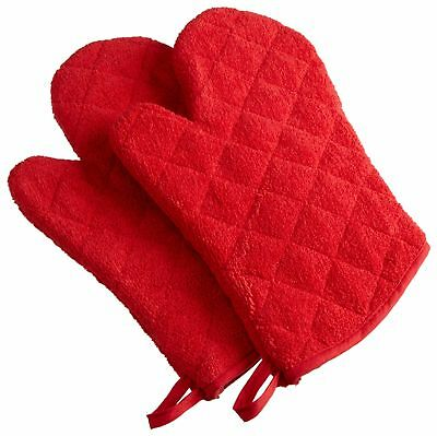 """DII Cotton Terry Oven Mitts 7 x 13""""  Set of 2 Heat Resistant and Machine ... New"""