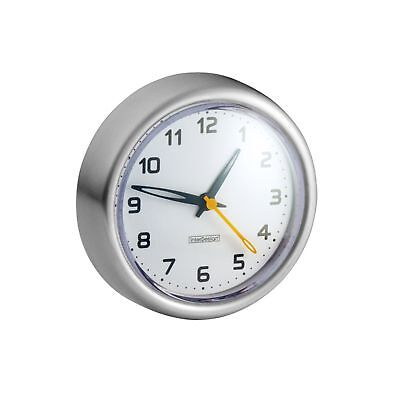 InterDesign Forma Suction Clock Brushed Stainless Steel New