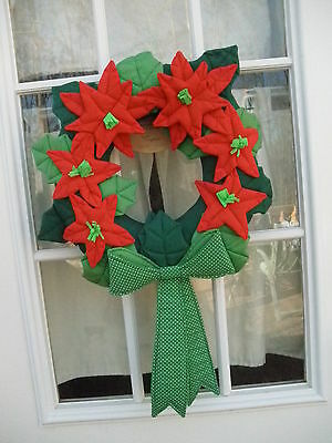 Cloth Poinsettia Wreath  made in El Salvador in 1991