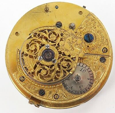 LATE 1700's / EARLY 1800's FUSEE POCKET WATCH MOVEMENT & SUPERB DIAL. A FIXER.