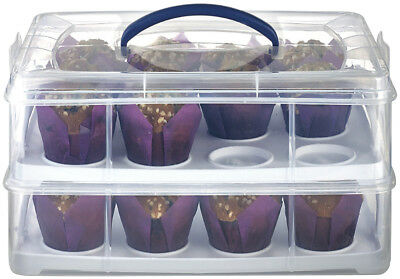 NEW Lakeland 70492 2 Tier Oblong Cupcake Carrier Caddy & Lid