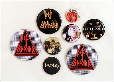 Def Leppard Lot Of 8 80's Buttons Pins