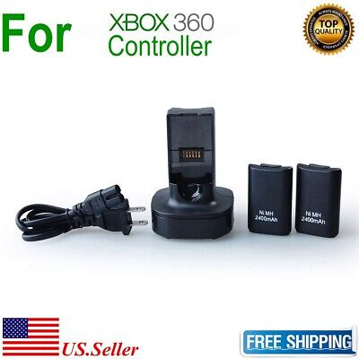 2x 2400mAh Battery Pack Charger stand for Microsoft XBOX 360 Wireless Controller