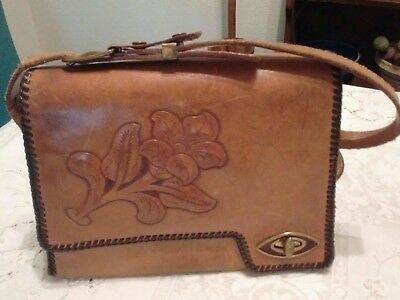 Nice Vintage Tooled Cowhide Leather Purse Hand Laced Nice Design