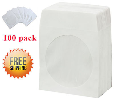 White Cd/dvd Disc Paper Sleeves Envelopes with Flap and Clear Window - 100pack