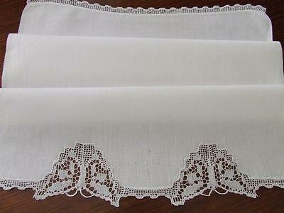 Gorgeous White Vintage Hand Towel Initialled 'M'  - Crocheted Filet Butterflies