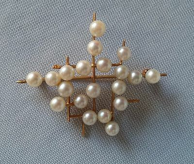 Vintage Modern 14K Yellow Gold Freshwater Pearl Brooch Pin