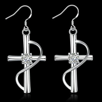 Fashion 925Sterling Solid Silver Jewelry Crystal Cross Dangle Earrings E194