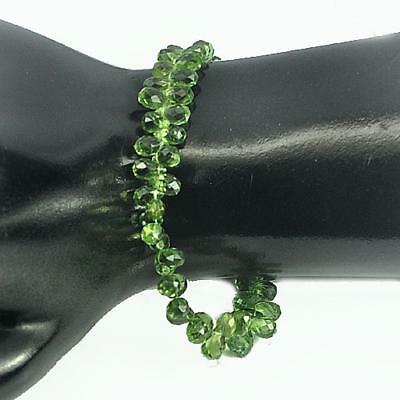 57.85 Ct. Natural Green Apatite Beads Length 8 Inch Briolette Cut 6.8 X 4.7 Mm.