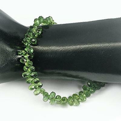 Unheated 59.50 Ct. Briolette Cut 6.7 X 4.5 Mm.natural Green Apatite Beads 8 Inch