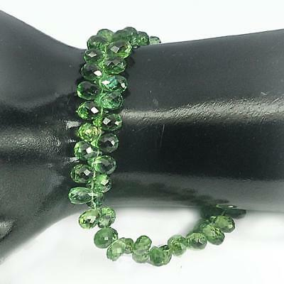 79.65 Ct. Briolette Cut 6.5 X 4.1 Mm. Natural Green Apatite Beads Length 8 Inch