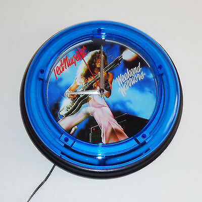 Ted Nugent Weekend Warriors Blue Neon Wall Clock