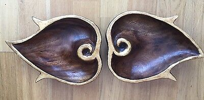 Vintage Hand Carved Wooden Trays, Carved Leaf Shape/design