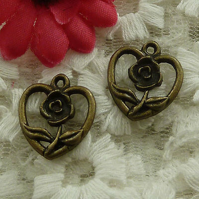 free ship 210 pieces bronze plated heart flower charms 18x16mm #2996