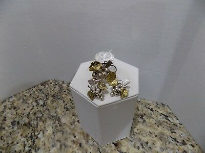 Signed 925 Mexico Sterling Silver Brass Grape Cluster Pin Brooch Earrings Set