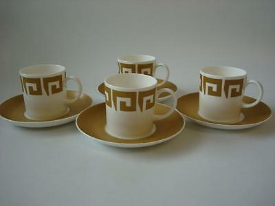 Wedgwood Susie Cooper Keystone Old Gold 4 X Cups & Saucers
