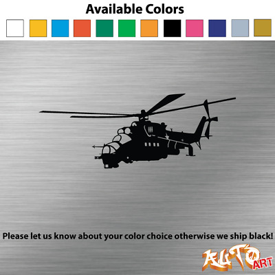 """Hind Military Helicopter MI-24 Car Decal Bumper Sticker 3"""" x 8"""""""